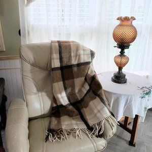 Vintage Pure Wool Throw Plaid Brown Tan 53 X 65